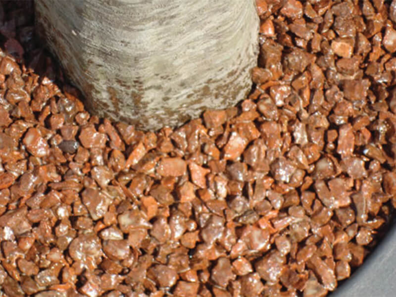 Tree pit with copper stone